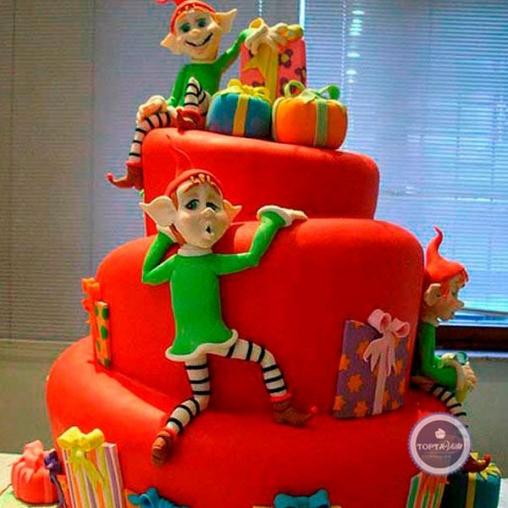 новогодний торт гномики