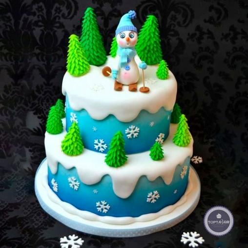 новогодний торт - смешной снеговик