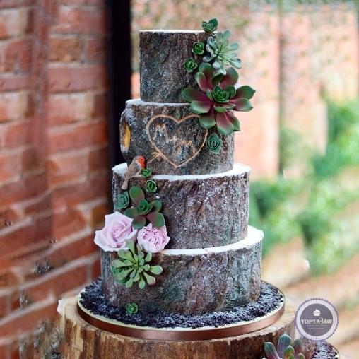 свадебный торт - деревянный торт