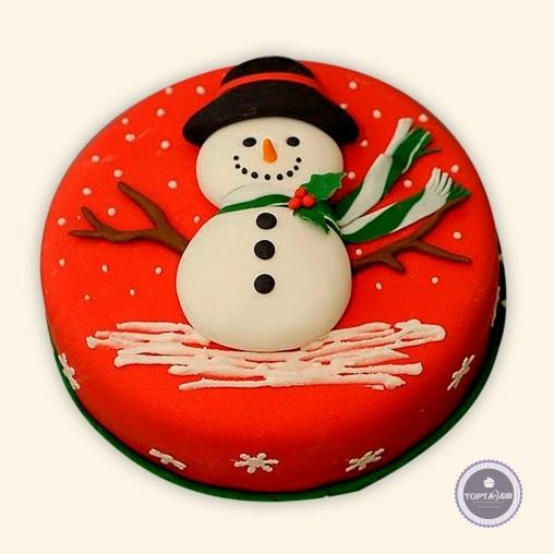 новогодний торт - снеговичок