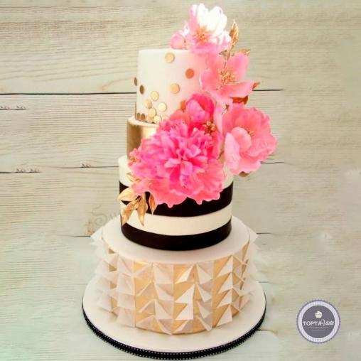 свадебный торт - цветы любви