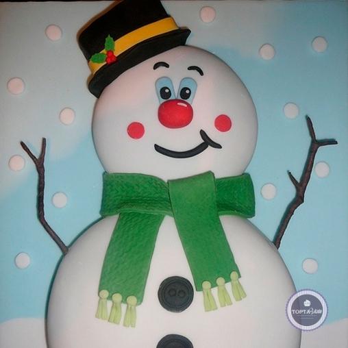 новогодний торт - снеговик в шляпке