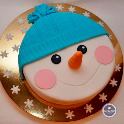 новогодний торт - снеговик в шапке