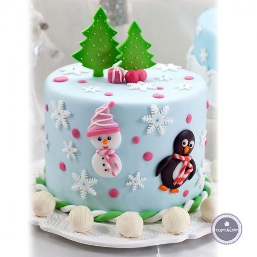 новогодний торт - пингвин и снеговик