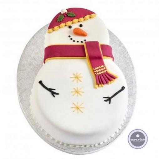 новогодний торт пузатый снеговик