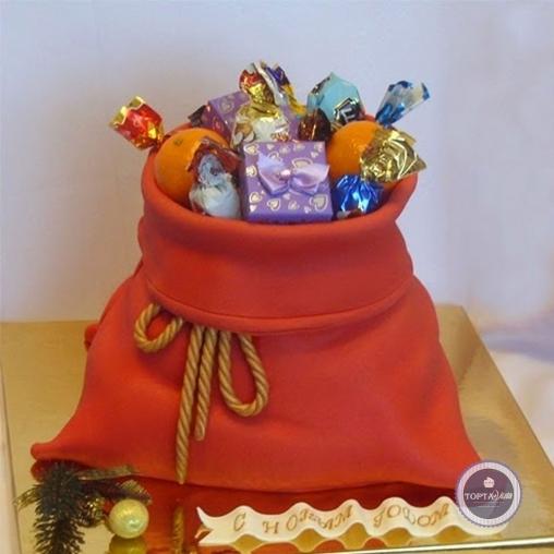 новогодний торт - мешок подарков