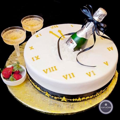 новогодний торт - шампанское готово