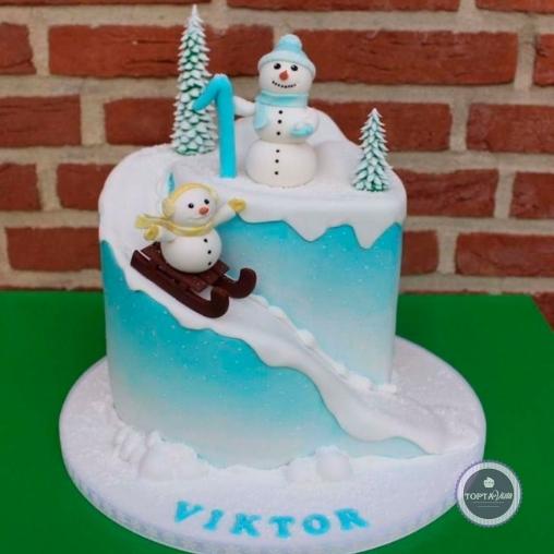 новогодний торт - зимние забавы