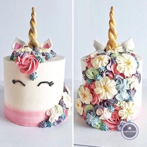 Детский торт - Единорог в цветах