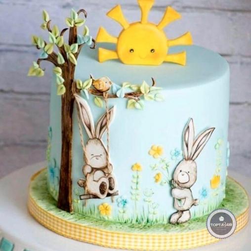 детский торт - зайки на полянке