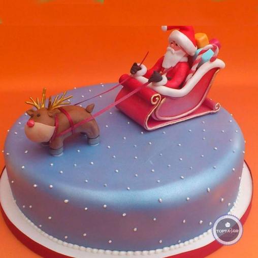 Новогодний торт - Санта в пути