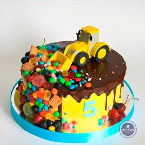 Детский торт - Бульдозер со сладостями