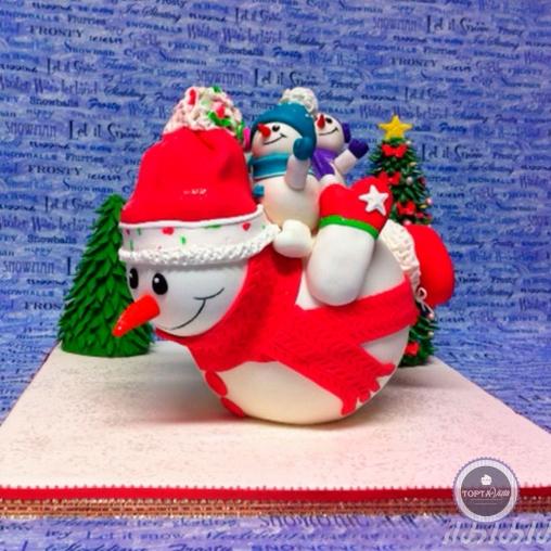 Новогодний торт - Весёлые снеговики