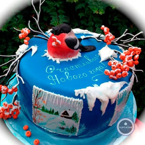 Новогодний торт Снегири