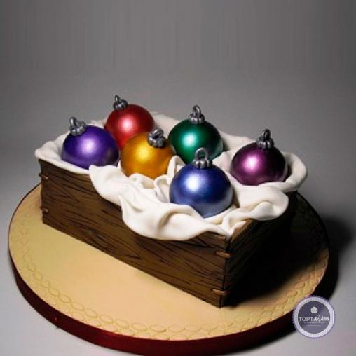 Новогодний торт - Цветные шары