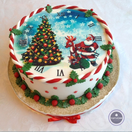 Новогодний торт - Санта с оленем