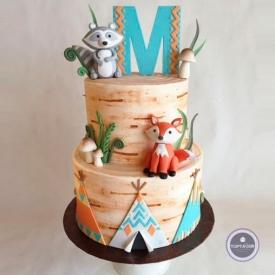 Детский торт - Енот и лисичка