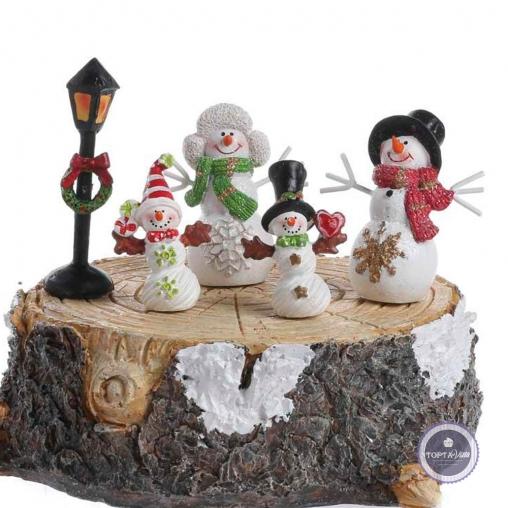 Новогодний торт - Семья снеговиков