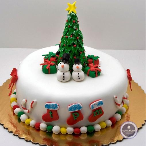 Новогодний торт - Снеговики на площади