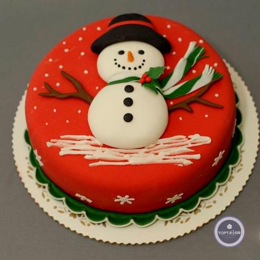 Новогодний торт - Снеговишка