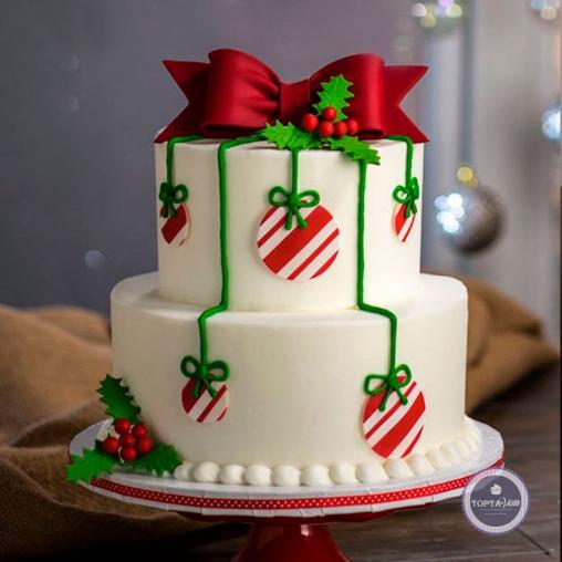 Новогодний торт - Белоснежный