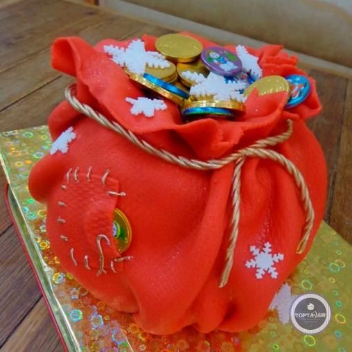 Новогодний торт - Мешок с монетками