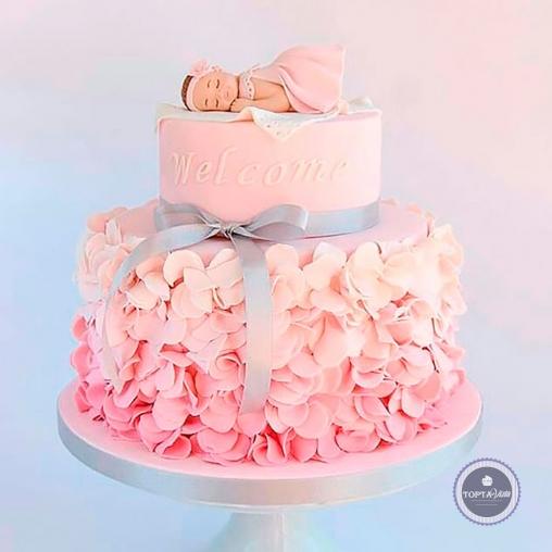 Детский торт - Розовый комочек