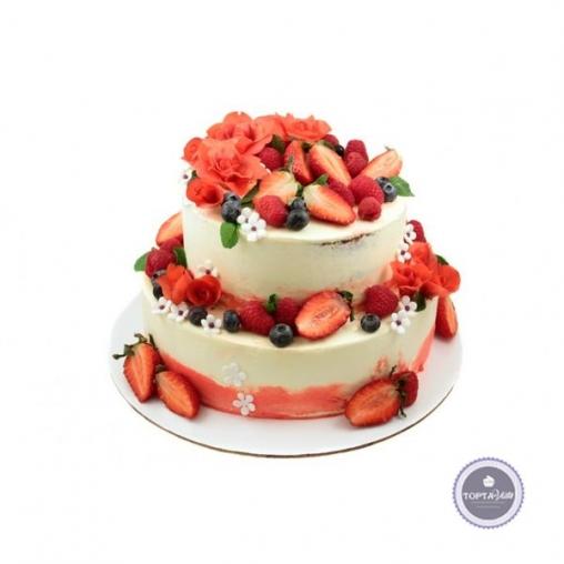 Торт без мастики Ягодная горка