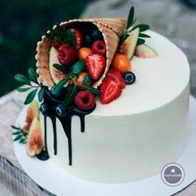 Детский торт - Рожок из фруктов